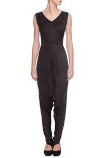 Black dhoti-patterned jumpsuit