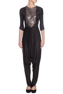 Black ghungroo-embellished jumpsuit