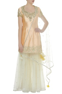 Embroidered kurta, sharara with dupatta