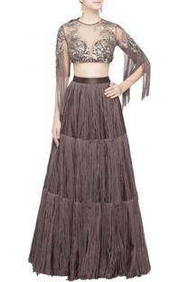 Brown tassel lehenga & blouse
