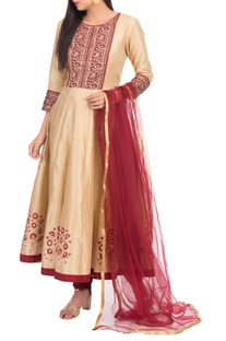 Embroidered anarkali set with yoke detail