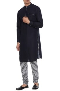 Black & grey linen kurta with ikat churidar