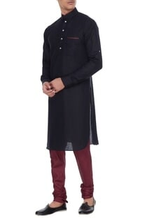 Black & maroon linen kurta with silk printed churidar