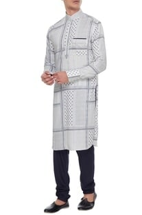 Off -white & blue cotton printed kurta with churidar