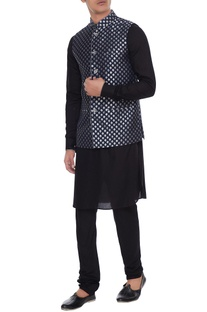 Navy blue chanderi banarasi & silk blend nehru jacket with kurta & churidar