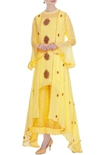 Pastel yellow georgette zardozi kurta set