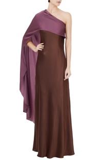 Wine one shoulder satin lycra gown