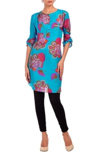 Aqua & fuschia floral motif printed tunic