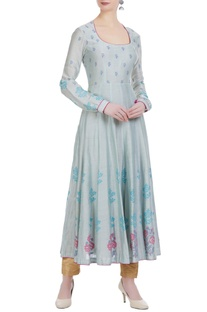 Block printed floral chanderi silk anarkali
