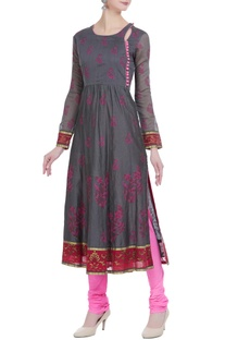 Chanderi block printed flared kurta with slits