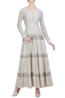 Chanderi silk taj printed anarkali