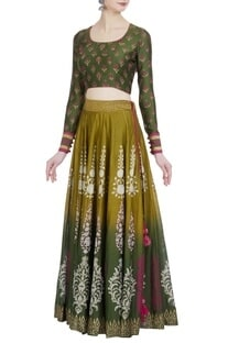 Ombre chanderi silk block printed lehenga set