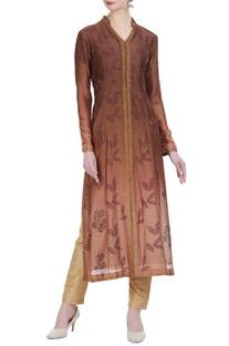 Chanderi silk block printed jacket-style kurta