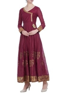 Chanderi silk block printed angrakha anarkali