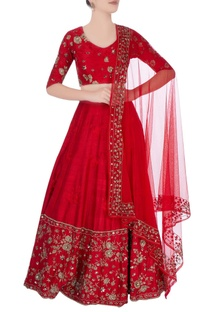 Red lehenga with floral motif embroidery
