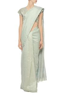 Pale mint linen sari