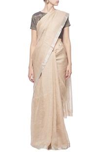 Hazelnut linen sari with silver border