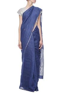 Indigo grid linen sari