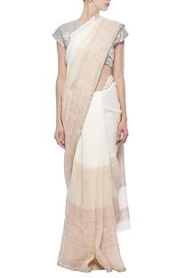 Ivory and beige linen sari