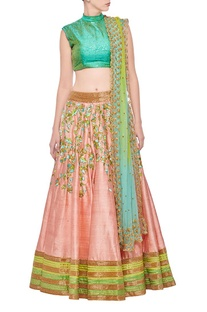 Sea green & rose pink floral embroidered lehenga set