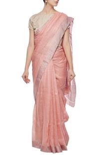 Salmon linen sari with silver border