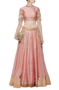 Rose pink floral embroidered lehenga