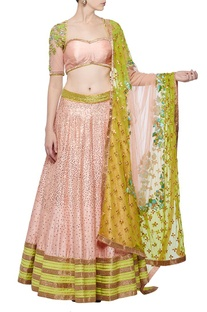 Rose pink & lime green embroidered lehenga set