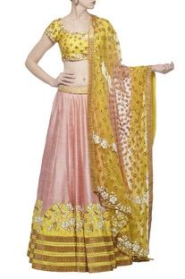 Rose pink & haldi embroidered lehenga set
