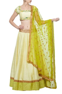 Pale yellow & lime green embroidered lehenga set
