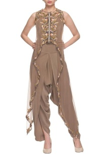 Beige draped jumpsuit with embellished cape