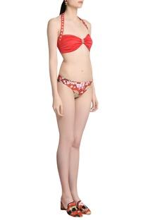 Print halter neck bikini set