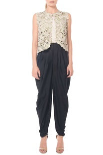 Black dhoti pants by Namrata Joshipura
