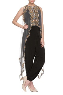 Black draped jumpsuit with embellished cape
