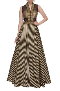 Black & gold striped embellished gown