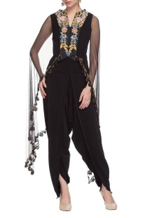 Black jumpsuit with embroidered cape