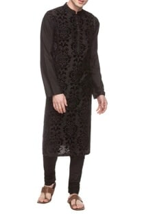 Black kurta with applique work