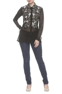 Black thread embroidered net shirt