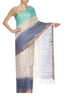Blue, white & golden border handwoven sari