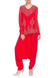 Bright red embellished kurta & draped cowl pants