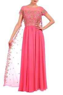 Carnation pink & gold floral embroidered layered dress