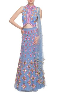 Cerulean blue embellished lehenga set with heart detail