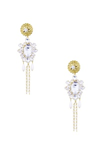 Gold pearl and crystal embellished dahlia earrings