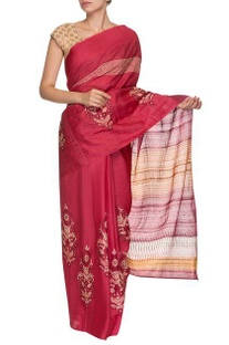 Deep pink, wine & orange floral motif handwoven sari