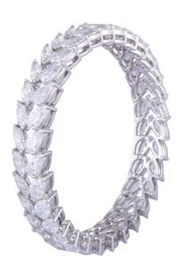 Silver sterling silver pear cut swarovski bangles