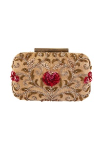 Beige sequin encrusted clutch