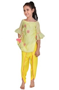 Lime yellow & mango yellow chanderi floral embroidery suit