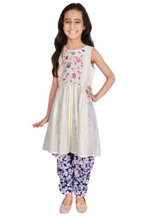 Ivory & blue chanderi embroidery suit