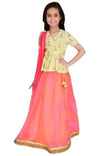 Yellow & red cotton & chanderi embroidery lehenga