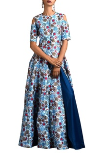 Multicolored cutout kurta & lehenga