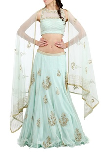 Sea foam�embroidered lehenga set
